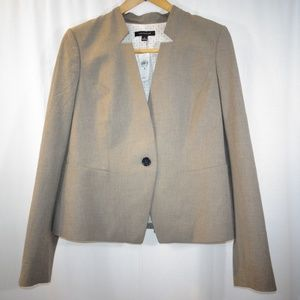 ANN TAYLOR Light Brown Collarless Jacket Blazer 8